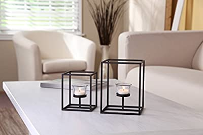 Hosley Set of 2 Candleholders with Clear Votive Glass, Lantern Tealight Holders. Includes Free Tea Lights. Ideal Gift for Home, Fireplace, Wedding, Spa, Reiki, Aromatherapy, Party LED Modern Art O3
