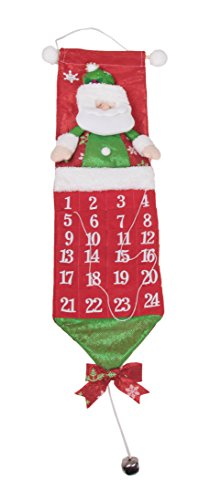 (Clever Creations Stuffed Santa Christmas 24 Day Advent Calendar Red and Green | Premium Holiday Décor | Felt with Dimensional Details | Day Marker on a String | Unique Decoration | Measures 26