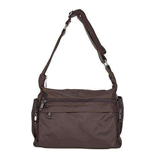 ZOOEASS Women Waterproof Nylon Shoulder Bag Corssbody Purse Travel Handbags (Brown)