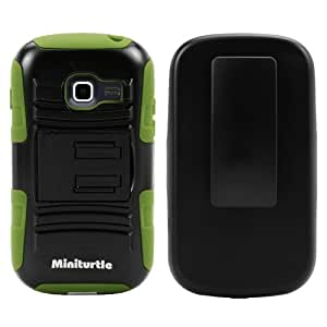 MINITURTLE, High Impact Rugged Hybrid Dual Layer Protective Phone Armor Case Cover with Built in Kickstand, Swiveling Holster Belt Clip, and Clear Screen Protector Film for Prepaid Android Smartphone Samsung Galaxy Discover S730G S730M S740 /Cricket, Centura S738C /Straight Talk /Net10 (Black / Green)