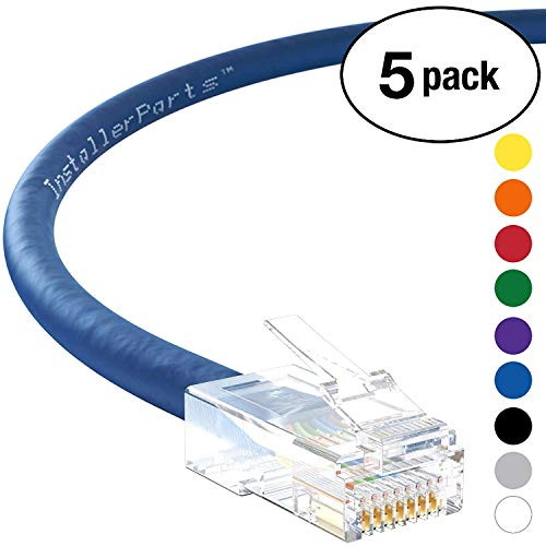 (InstallerParts (5 Pack) Ethernet Cable CAT6 Cable UTP Non-Booted 200 FT - Blue - Professional Series - 10Gigabit/Sec Network/High Speed Internet Cable, 550MHZ)