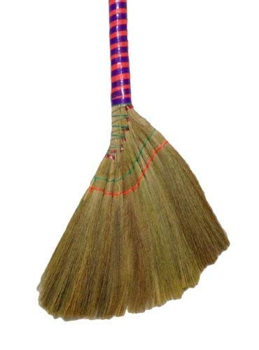 Straw Broom - Caravelle Choi Bong Co Vietnam Hand Made Straw Soft Broom with Colored Handle 12