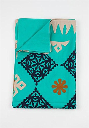 "Prism Blanket - Hand Applique - 2 Layer 100% Organic Cotton (Queen (90""x108""), Turquoise)"
