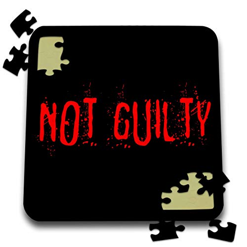 3dRose Alexis Design - Typography Funny - Red text Not Guilty on black background. Halloween horror theme - 10x10 Inch Puzzle -