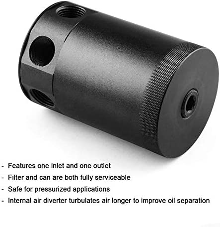 itYukiko High Performance Black Aluminum Alloy RACING BAFFLED 3-PORT Oil Catch Can