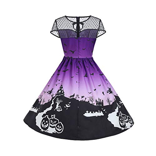 ThsiJJ Women's Halloween Night Printed Dress Mesh Patchwork Vintage Gown Short Sleeve Masquerade Party Swing Dress Purple for $<!--$9.03-->