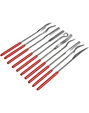 Mesee 10 Pieces Assorted Diamond Needle Files, 3x140mm Mini Riffler Needle Files Set Craft Hand Files Tool Kit for Glass, Ceramic, Rock, Carbide, Gold, Platinum, Silver, Stone, Jewelry, Wood Carving