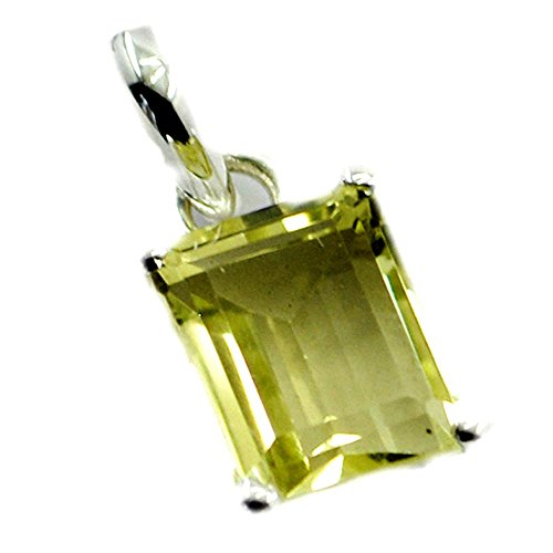 Gemsonclick Real Lemon Quartz Pendant For Women Sterling Silver Charm For Gift Emerald Cut prong Necklace