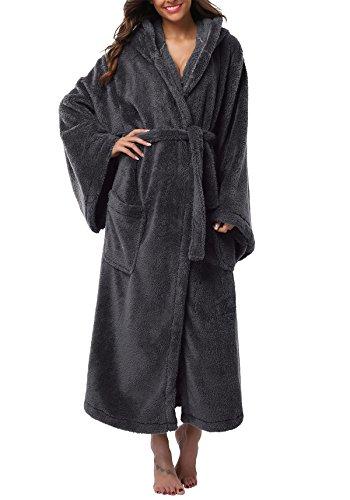 VIKEY Women's Plush Coral Velvet Robe Cozy Long Hooded Bathrobe Nightgown Dark Grey (Fluffy Robe)