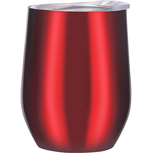 Skylety 12 oz Double-insulated Stemless Glass Wine Tumbler, Stainless Steel Tumbler Cup with Lids for Coffee, Drinks, Champagne, Cocktails (Transparent Red)