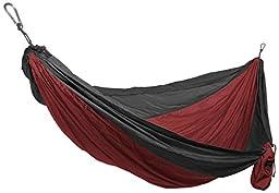 Grand Trunk Double Parachute Nylon Hammock - Crimson/Charcoal
