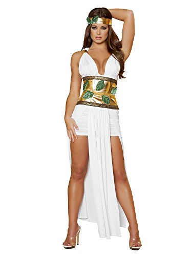 Roma Costume 4 Piece Divine Goddess Costume, White/Gold, Medium/Large from Roma Costume