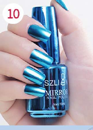 KCPer Mirror Nail Polish,18ml Metallic Nail Polish Magic Mirror Effect Chrome Nail Art Polish Varnish Perfect Summer Gel Nail Polish (J)