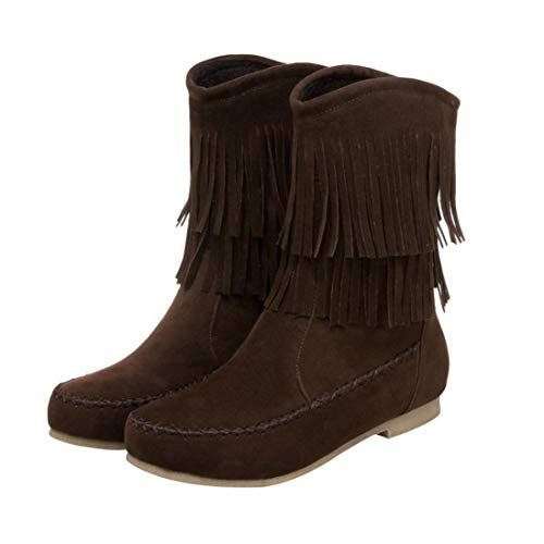 Brown Fashion Casual Boots Toe Lady Round vermers Flat Boots Flock Women's Tassel Low Cylinder qOwFwxd87