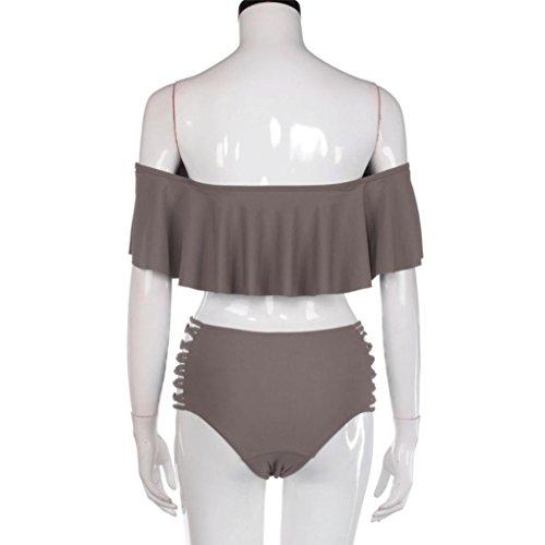 Rcool Mujeres Vendaje Bikini Set Push-up Acolchado Bra Traje de Baño Bañador Swimsuit (que contiene el cojín del pecho) Café
