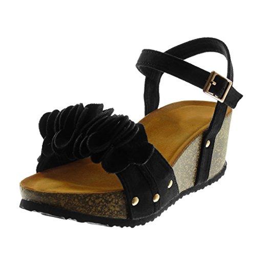 Angkorly Women's Fashion Shoes Sandals Mules - Ankle Strap - Platform - Flowers - Ruffle - Cork Wedge Platform 6 cm Black