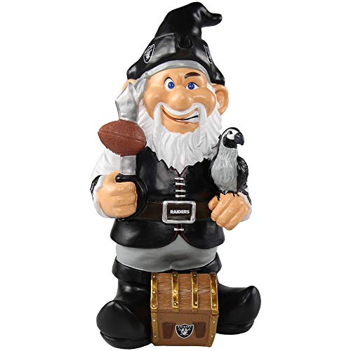 Gnome Oakland Nfl Raiders - Oakland Raiders NFL Garden Gnome 10.5 in, Outdoor Garden Statue with Hat Black White Lawn Figure Decoration Mini Figurine with Football Team Logo for Fan Team Spirit, Resin