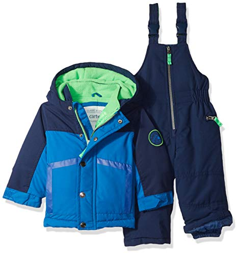 Carter's Baby Boys Heavyweight 2-Piece Skisuit Snowsuit, House Blue/Current Navy, 18M 2 Piece Winter Jacket