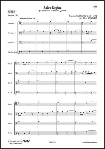 Descargar Ebooks Torrent Partitura Clasica - Salve Regina - F. Guerrero - Trombone Quartet PDF A Mobi
