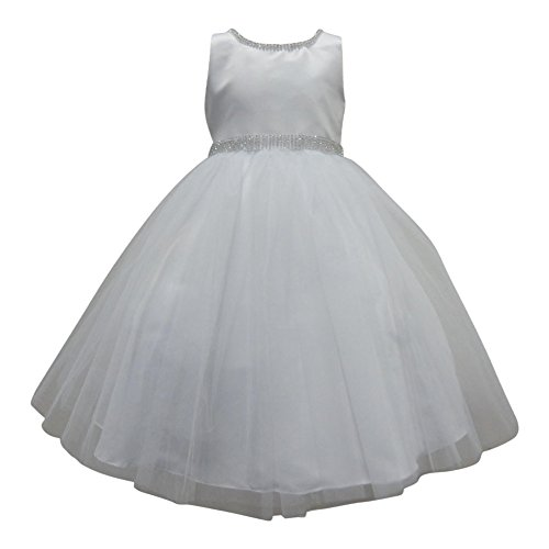 Square Neckline Satin (Big Girls White Beaded Neckline Waist Satin Junior Bridesmaid Dress 10)