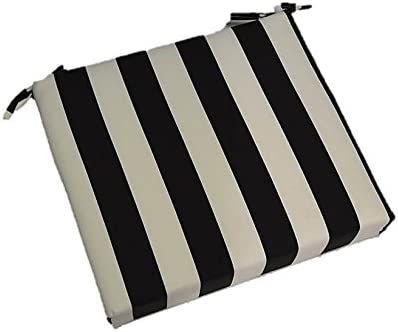 Resort Spa Home Decor Indoor Outdoor Black and White Stripe Universal 2 Thick Foam Seat Cushion with Ties for Dining Patio Chair – Choose Size 22 x 22