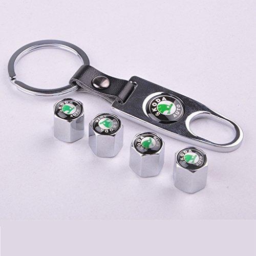 4 Car Wheel Tire Valve Stem Air Caps Covers 1 Set Plus Bonus Keychain For Skoda Silver