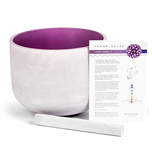 Purple 432 hz Crystal Singing Bowl B Note Crown Chakra 10 Inch, Suede Mallet Included, Highest Quality Sound (10 Inch) by Kurma Yoga