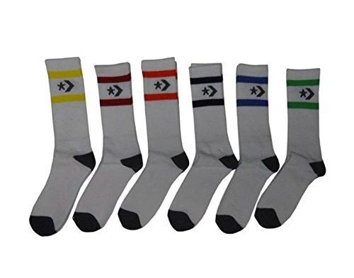 Converse Men's Crew Socks (6 Pair) Shoe Size 6-12, Multicolored White