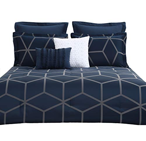Chezmoi Collection Corvo 5 Pieces Modern Jacquard Geometric Lattice Pattern Bedding Comforter Set (King, Navy) (Blue Silver Comforter And)