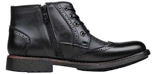 Shenbo Menns Brogue Oxford Boots Black