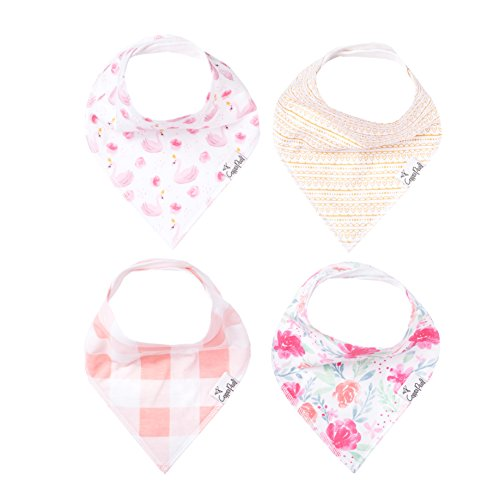"""Baby Bandana Drool Bibs for Drooling and Teething 4 Pack Gift Set For Girls """"June"""" by Copper Pearl"""