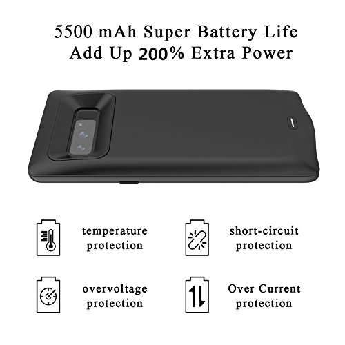Samsung Galaxy Note 8 Battery CaseLED Indicator5500 mAh slimmer and significantly more reliable Rechargeable External Battery handheld power Bank Charger Protective Charging predicament Black Battery Charger Cases