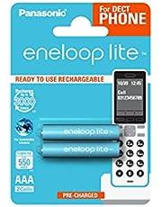Panasonic eneloop lite, Ready-to-Use Ni-MH, AAA/Micro, 2 sztuki w zestawie, do telefonów bezprzewodowych (DECT), min. 550 mAh, 3000 cykli ładowania, niski stopień samorozładowania