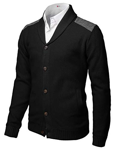 H2H Mens Classic Shawl Collar Button Up Cardigan with Shoulder Point Black US 3XL/Asia 4XL (CMOCAL028)