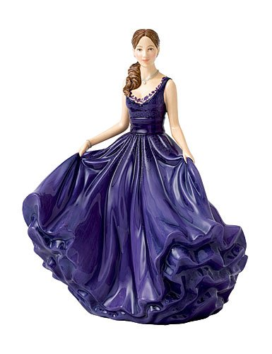 Royal Doulton Heather (Royal Doulton Traditional Ladies Heather in Deep Purple Gown Fine China Figurine)