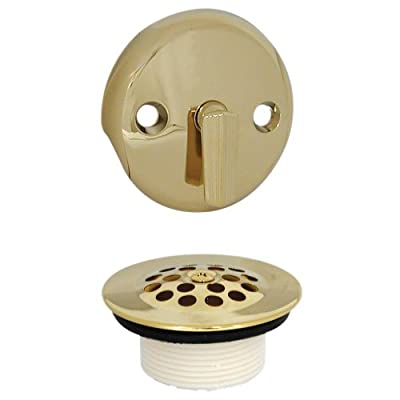 DANCO Trip Lever Bath Tub Drain and Overflow Plate Trim Kit, Polished Brass, 1-Pack (89243)