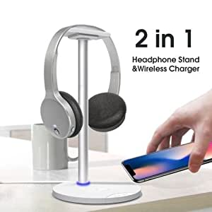 Likorlove Headphone Stand with Wireless Charging, 2in1 Fast Charging Dock and Headset Mount Wireless Charger, Quick Charging for Samsung Galaxy Note8, S8, S8+, S7 Edge, S7, S6 Edge Plus, Note5, Normal Standard Charging for iPhone X, 8, 8 Plus,White