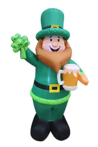 6 Foot Tall Lighted St Patricks Day Inflatable Leprechaun Holding Shamrock and Beer Cute Lucky Indoor Outdoor Lawn Yard Art Decoration
