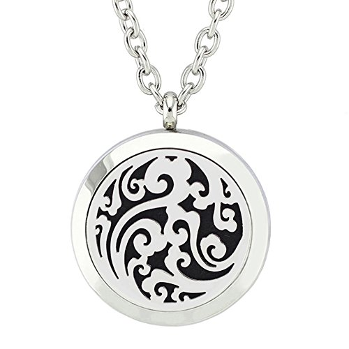 """Aromatherapy Essential Oil Diffuser Locket Pendant with Free 24"""" Chain Necklace and 8 Felt Pads by Jenia"""
