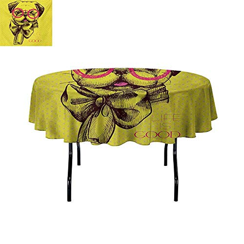 (GloriaJohnson Pug+Oil-Resistant+and+Durable+Round+Table+Cover+an+Intellectual+Dog+with+Glasses+and+a+Wink+Life+is+Good+Inscribed+on+The+Background+Kitchen+Available+D63+InchYellow+Pink+)