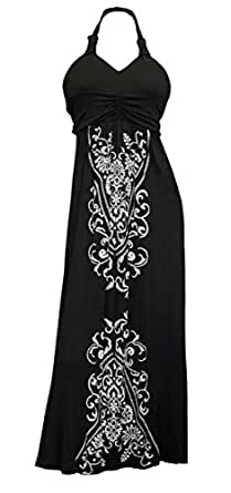 eVogues Plus Size Maxi Cocktail Cruise Halter Dress with Embroidery Print Detail Black - 1X