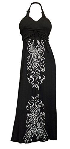 eVogues Plus Size Maxi Cocktail Cruise Halter Dress with Embroidery Print Detail Black – 1X