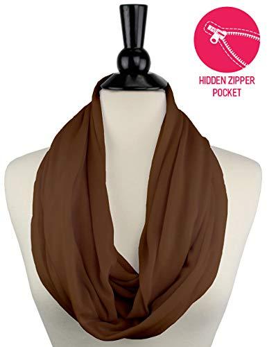 Brown Scarf Infinity Scarf Womens Fashion Scarf Zipper Pocket, Brown Scarf - Pop Fashion