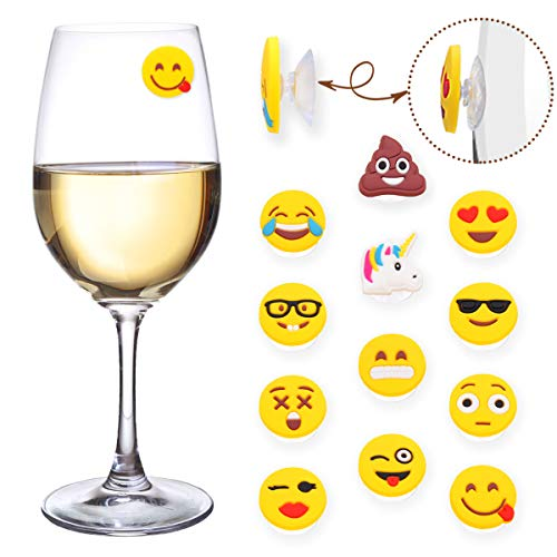 Markers Drink - MelonBoat Poop Unicorn Emoji Wine Charms for Glasses, Universal Drink Markers with Suction Cup, 12 Pack