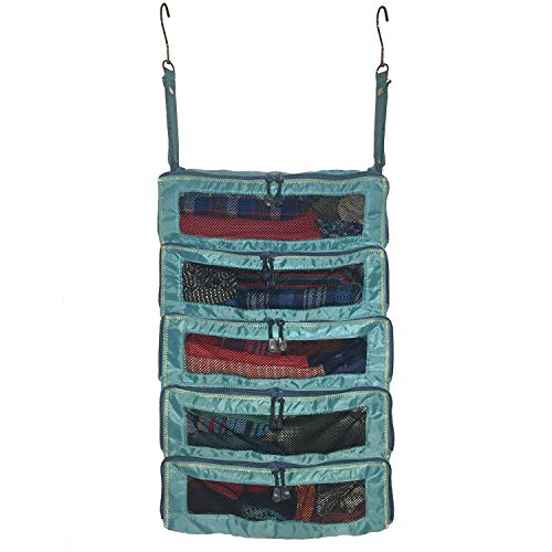 Luggage Organizer Packing Cubes - Collapsible Suitcase Backpack & Carry-On Bag Travel Accessories - Hanging Shelves feature YKK Zippers & Mesh Windows - Large Portable Closet System for Clothes - Teal