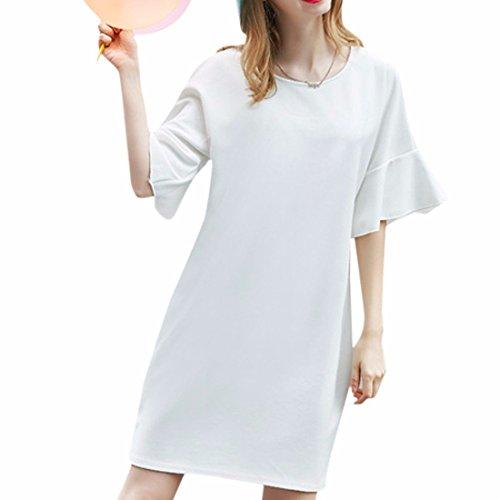 QIYUN.Z Moda Falbala Corto Mujeres De La Manga Nuevo Vestido De Cambio Solido Del Verano Mas El Tamano XL-5XL Blanco