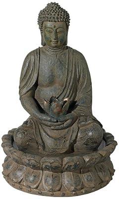 Meditating Buddha Antique Bronze LED Lighted Fountain