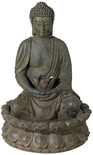 Meditating Buddha Antique Bronze 19''H LED Lighted Fountain by John Timberland