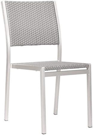 Zuo Outdoor Metropolitan Dining Chair, Brushed Aluminum