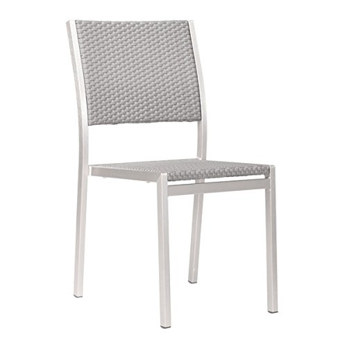 Zuo Outdoor Metropolitan Dining Chair, Brushed Aluminum